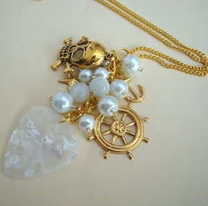 PN128 Pirate charm necklace with white plectrum & beads