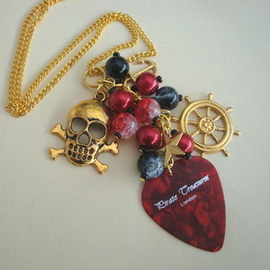 PN129 Pirate charm necklace with red plectrum & beads
