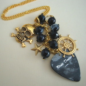 PN130 Pirate charm necklace with black plectrum & beads