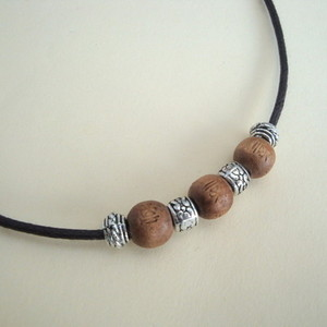 Men's wooden and silver bead necklace MN020