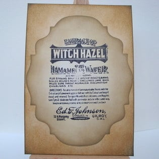 PC01 A6 Postcard vintage Witch Hazel label art card