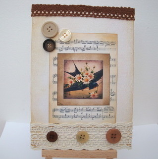 Vintage bird & lace collage on canvas board ART 01