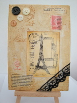 Vintage Paris theme collage on canvas ART 02