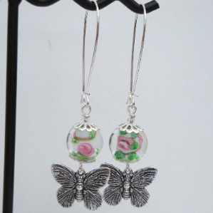 Butterfly and bead earrings CE018