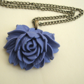 Lavender cabbage rose necklace on bronze or silver chain