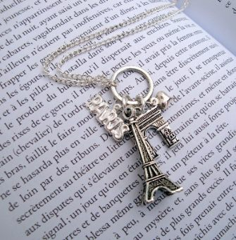 Sightseeing in Paris Vintage inspired Eiffel Tower silver charm necklace VN