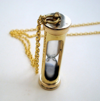 Sands of Time vintage style brass hourglass charm necklace -VN078