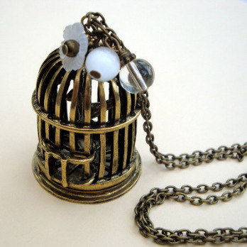 Vintage style antique bronze birdcage charm necklace - VN079
