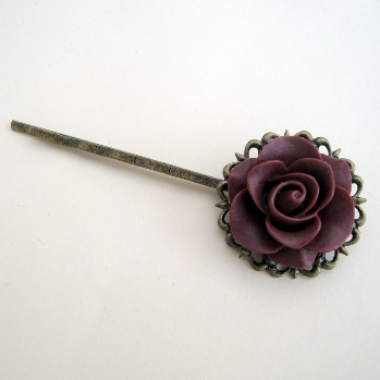 Vintage inspired hair grip - wine rose on bronze pin