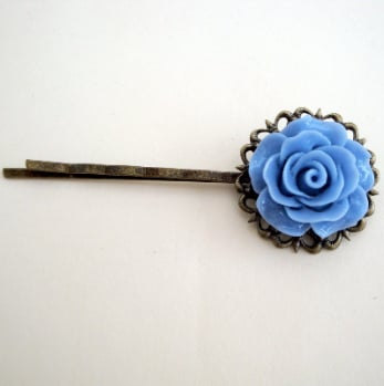 Vintage inspired hair grip - blue rose on bronze pin