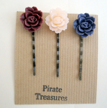 Vintage inspired three hair grip bobby pins with rose (set 1)