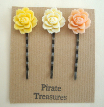 Vintage inspired three hair grip bobby pins with rose (set 2)