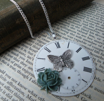Steampunk vintage pocket watch face necklace SN078