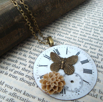Steampunk vintage pocket watch face necklace SN079