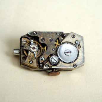Steampunk vintage watch movement brooch SBR014
