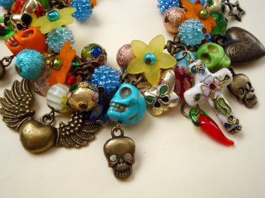 ccb053 day of the dead charm bracelet crop