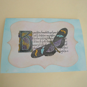Vintage butterfly handmade card C013
