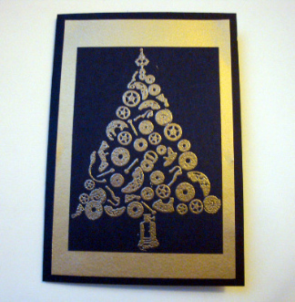 Steampunk Christmas Tree card C014