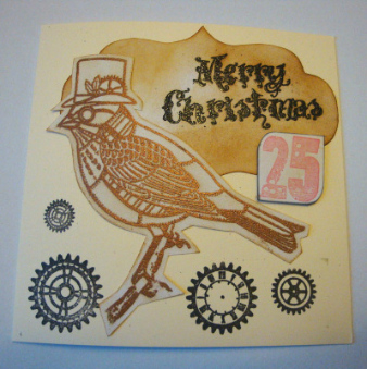 Steampunk Christmas robin card C015