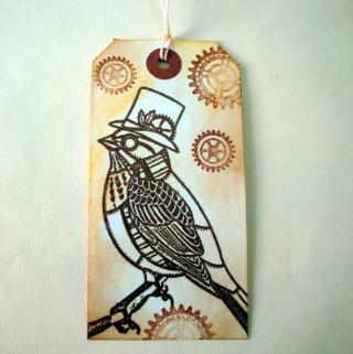 GT009 Steampunk Christmas gift tag - bird & cogs