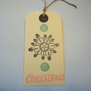 GT011 Steampunk Christmas luggage label gift tag