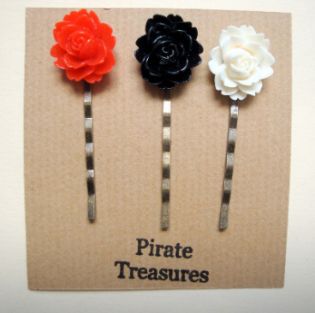 Vintage inspired three hair grip bobby pins with rose (set 4)