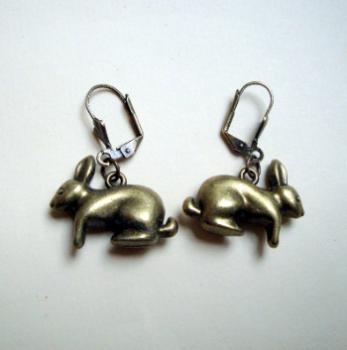Vintage inspired antique bronze rabbit charm earrings VE044