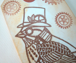 steampunk bird & cogs gift tag
