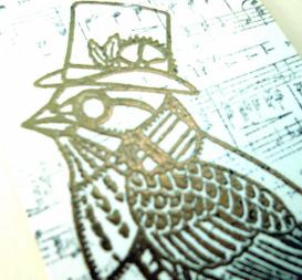 steampunk bird gift tag luggage label