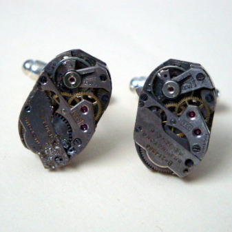 Steampunk cufflinks with vintage watch movements SC038