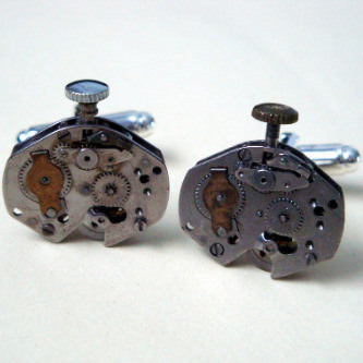 Steampunk cufflinks with vintage watch movements SC039