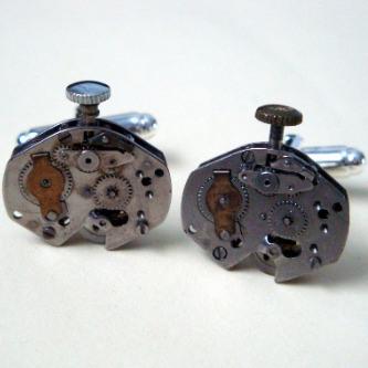 Steampunk cufflinks with vintage watch movements SC039