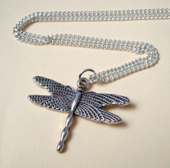 Dragonfly charm necklace in antique silver VN098