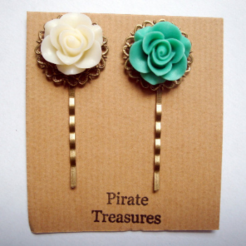 Vintage inspired rose hair grip bobby pins - ivory & mint green