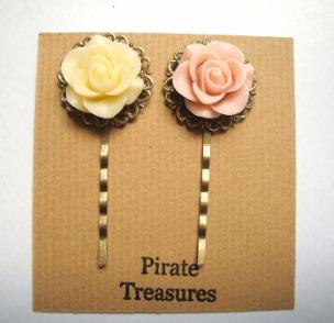 Vintage inspired rose hair grip bobby pins - cream ivory & antique pink