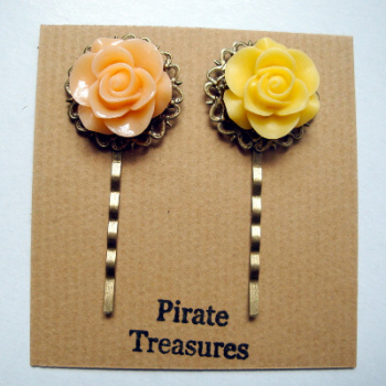 Vintage inspired rose hair grip bobby pins - peach & yellow