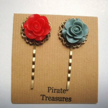 Vintage inspired rose hair grip bobby pins - red & grey