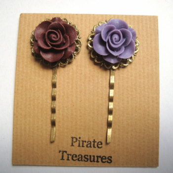Vintage inspired rose hair grip bobby pins - wine & lavender
