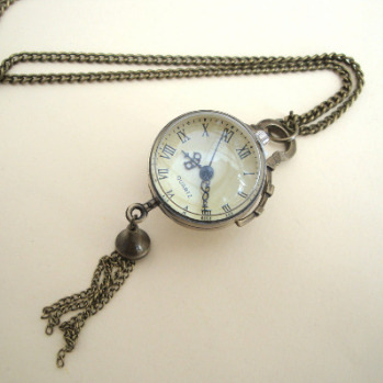 Vintage inspired brass watch pendant necklace VN103