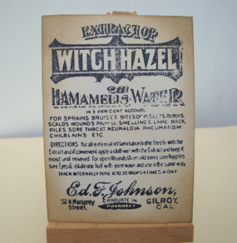 ACEO 27 Vintage style Witch Hazel label art card