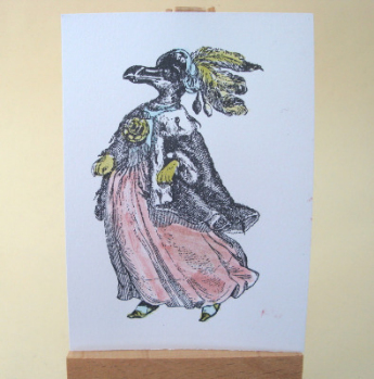 ACEO 30 Lady penguin tinted art card