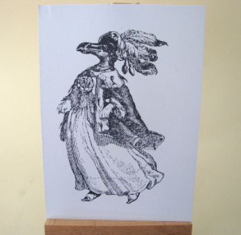 ACEO 31 Lady penguin black & white art card