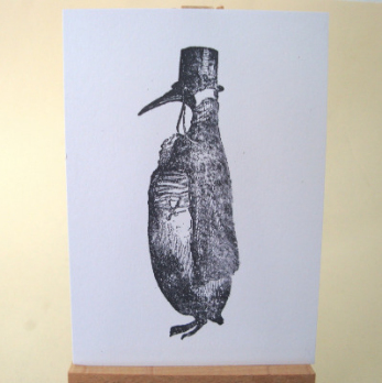 ACEO 33 Tall penguin black & white art card