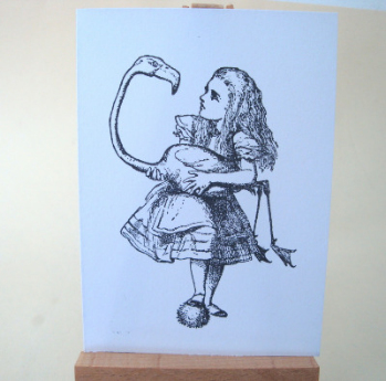 ACEO 36 Alice in Wonderland flamingo art card
