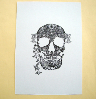 Postcard A6 art card black & white skull and flowers PC03