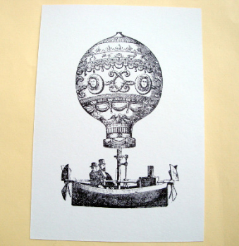 Postcard A6 art card Steampunk balloon men PC04