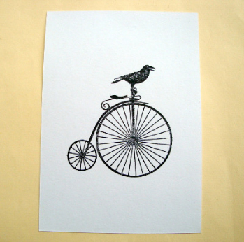 Postcard A6 art card bird on penny farthing PC05