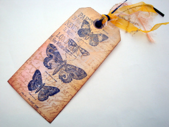 Large luggage label gift tag vintage butterflies GT013