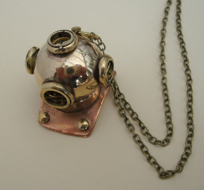 brass diving helmet necklace