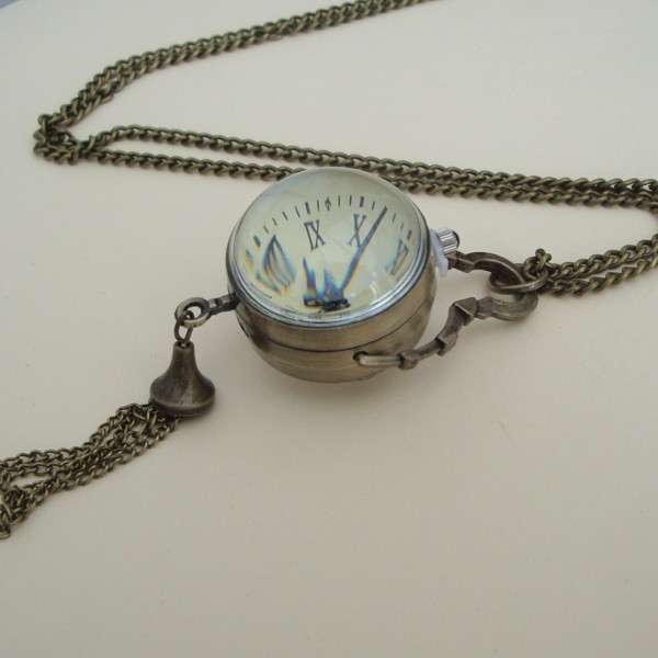 vintage glass ball watch pendant necklace